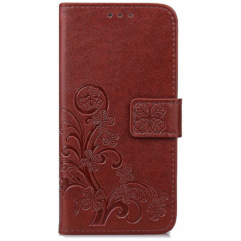 Lucky Clover Pattern PU Leather Flip Stand Wallet Cover Case for Samsung Galaxy S6 - Brown