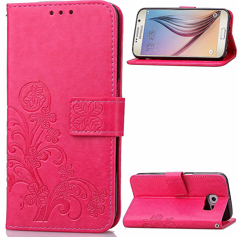 Lucky Clover Pattern PU Leather Flip Stand Wallet Cover Case for Samsung Galaxy S6 - Rose Red