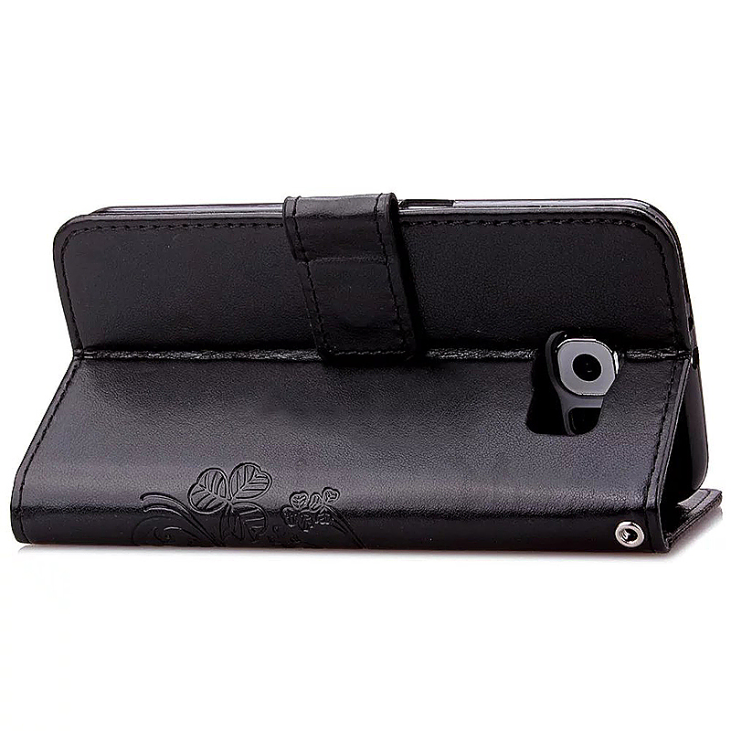 Lucky Clover Pattern PU Leather Flip Stand Wallet Cover Case for Samsung Galaxy S6 Edge - Black