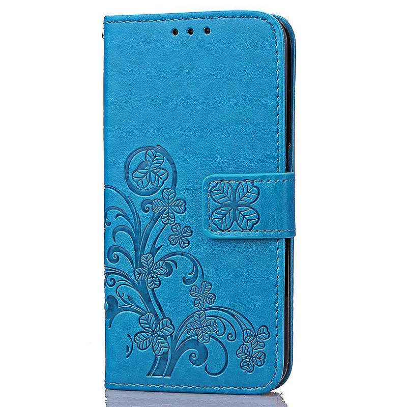 Lucky Clover Pattern PU Leather Flip Stand Wallet Cover Case for Samsung Galaxy S6 Edge - Blue