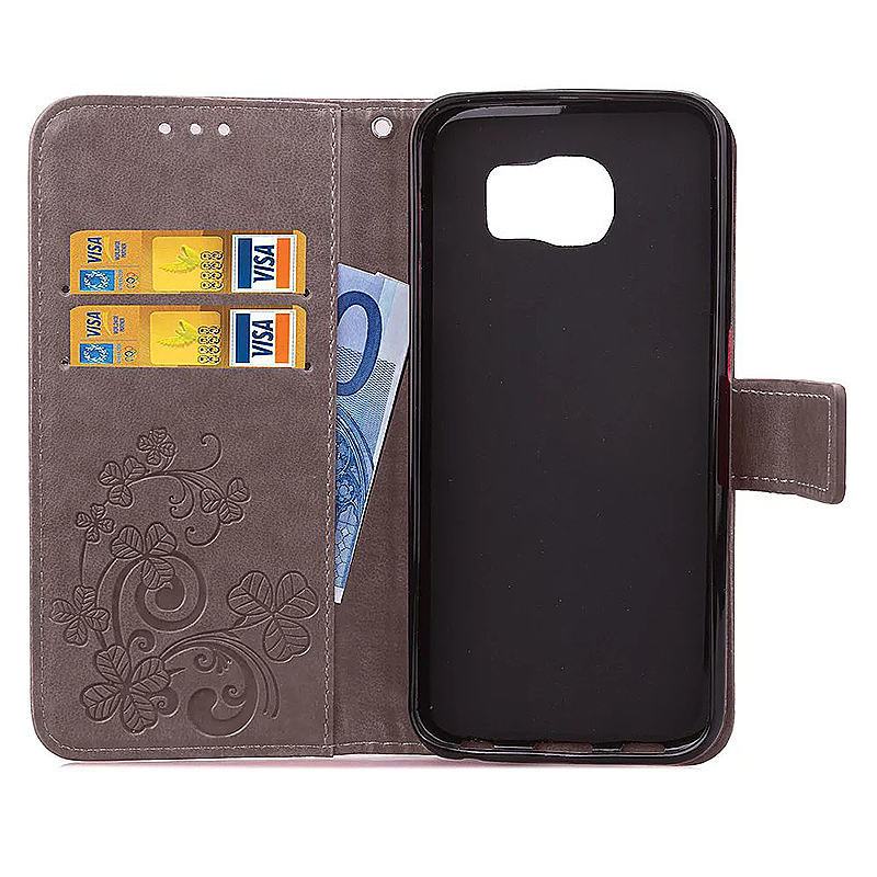Lucky Clover Pattern PU Leather Flip Stand Wallet Cover Case for Samsung Galaxy S6 Edge - Grey