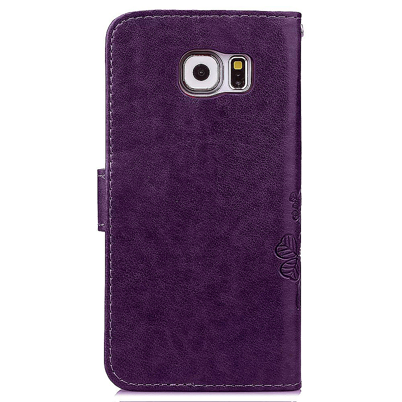 Lucky Clover Pattern PU Leather Flip Stand Wallet Cover Case for Samsung Galaxy S6 Edge - Purple