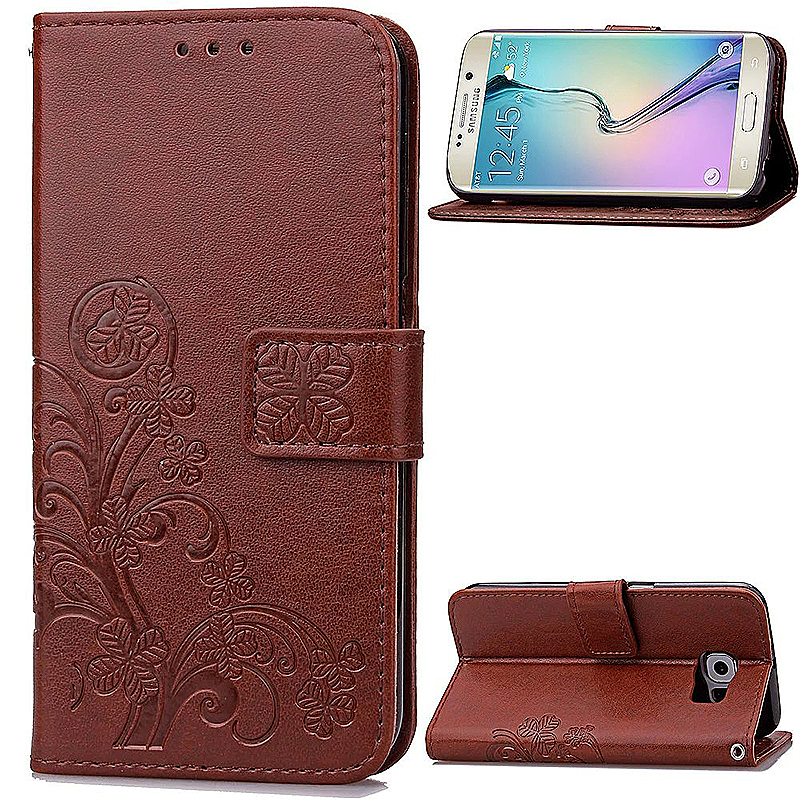 Lucky Clover Pattern PU Leather Flip Stand Wallet Cover Case for Samsung Galaxy S6 Edge - Brown