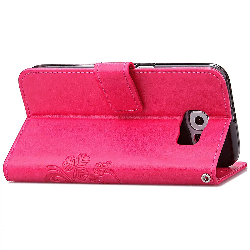 Lucky Clover Pattern PU Leather Flip Stand Wallet Cover Case for Samsung Galaxy S6 Edge - Rose Red