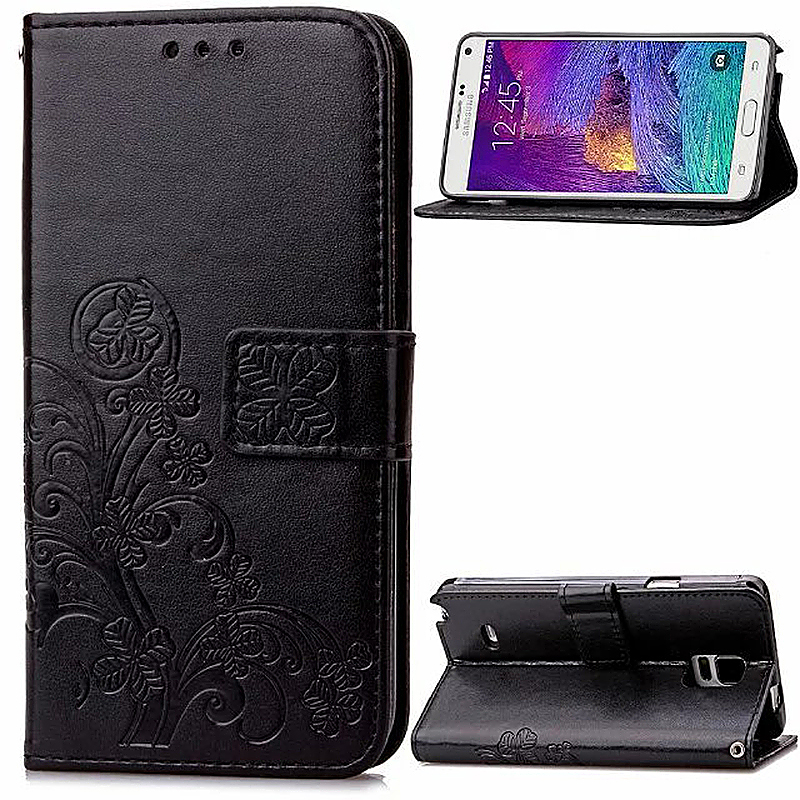 Lucky Clover Pattern PU Leather Flip Stand Wallet Cover Case for Samsung Galaxy Note 4 - Black