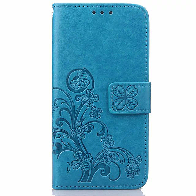 Lucky Clover Pattern PU Leather Flip Stand Wallet Cover Case for Samsung Galaxy Note 4 - Blue
