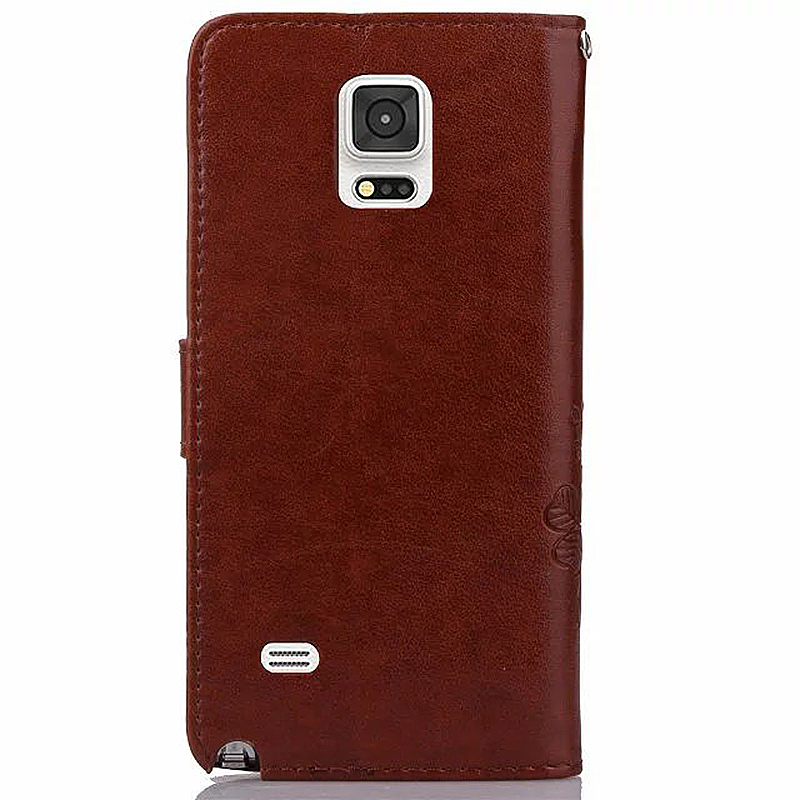 Lucky Clover Pattern PU Leather Flip Stand Wallet Cover Case for Samsung Galaxy Note 4 - Brown