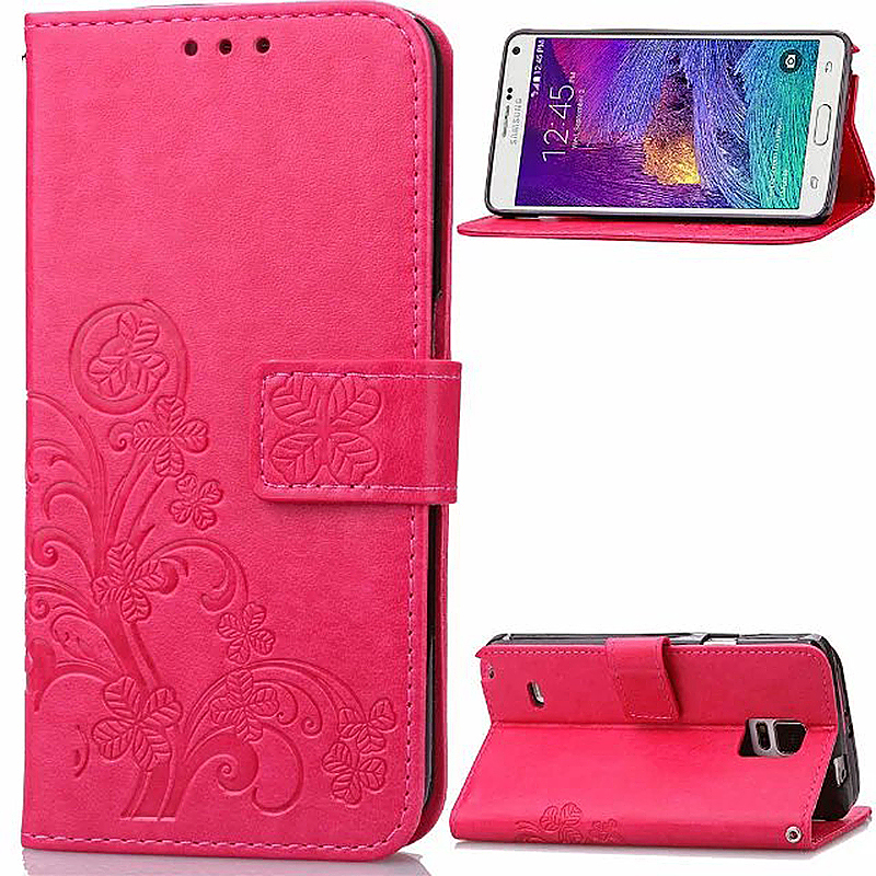 Lucky Clover Pattern PU Leather Flip Stand Wallet Cover Case for Samsung Galaxy Note 4 - Red