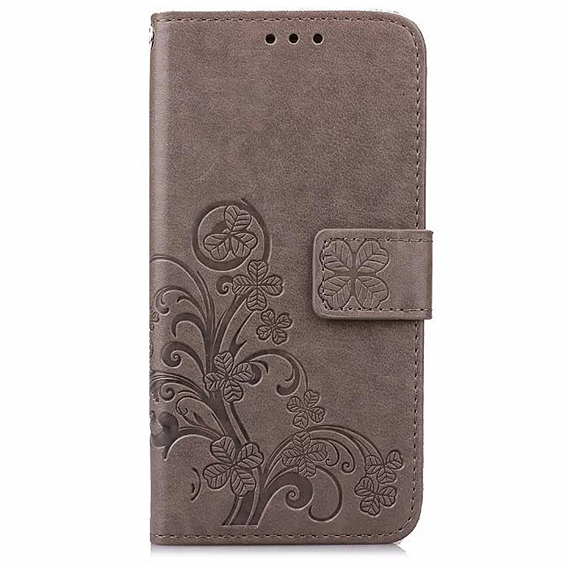 Lucky Clover Pattern PU Leather Flip Stand Wallet Cover Case for Samsung Galaxy Note 4 - Grey