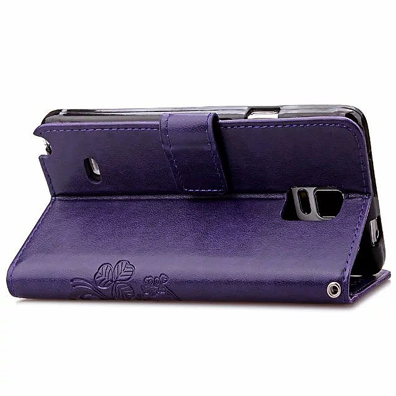 Lucky Clover Pattern PU Leather Flip Stand Wallet Cover Case for Samsung Galaxy Note 4 - Purple