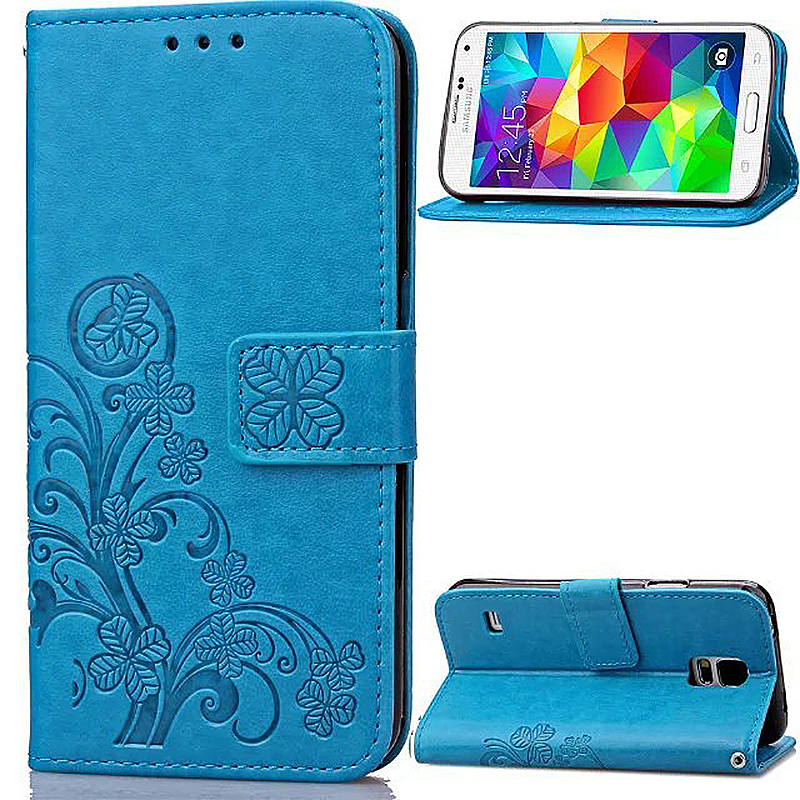 Lucky Clover Pattern PU Leather Flip Stand Wallet Cover Case for Samsung Galaxy S5 - Blue