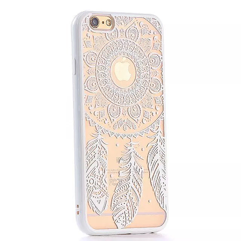 Embossed Feather TPU Phone Protective Back Cover Case for Apple iPhone 6S - White