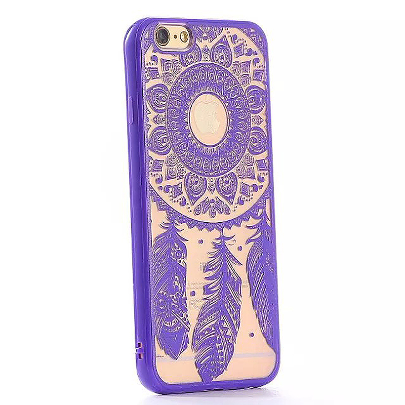 Embossed Feather TPU Phone Protective Back Cover Case for Apple iPhone 6S - Purple