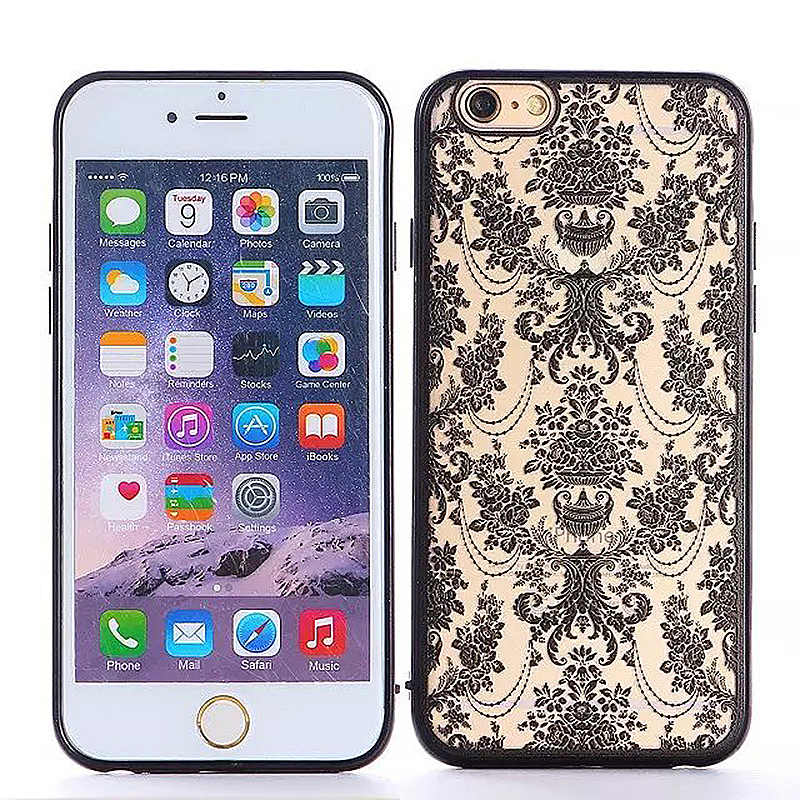 Embossed Rose TPU Phone Protective Back Cover Case for Apple iPhone 6S - Black