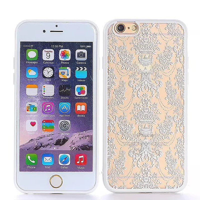 Embossed Rose TPU Phone Protective Back Cover Case for Apple iPhone 6S Plus - White