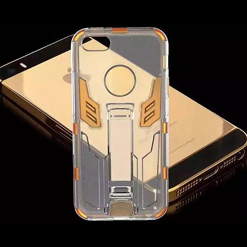Autobots Transparent PC Phone Protective Back Cover Case for Apple iPhone 6S Plus - Golden