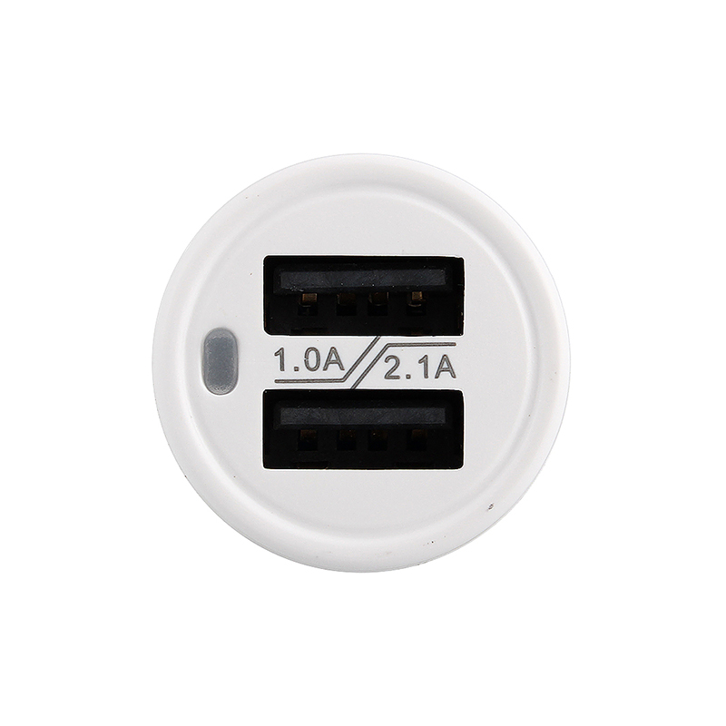 High Quality AD520 Dual USB 1A/2.1A Round Shape Car Charger Micro USB Data Charging for iPhone iPad Samsung - White