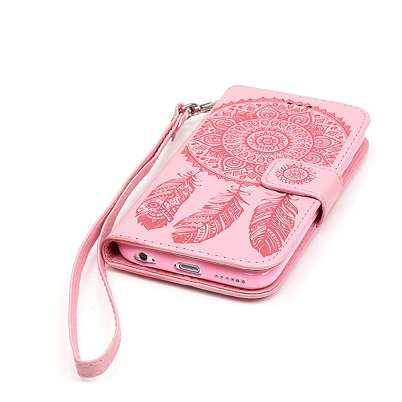 Dreamcatcher Embossed Stand Flip Wallet Credit Card Cover Case for iPhone 6S - Pink
