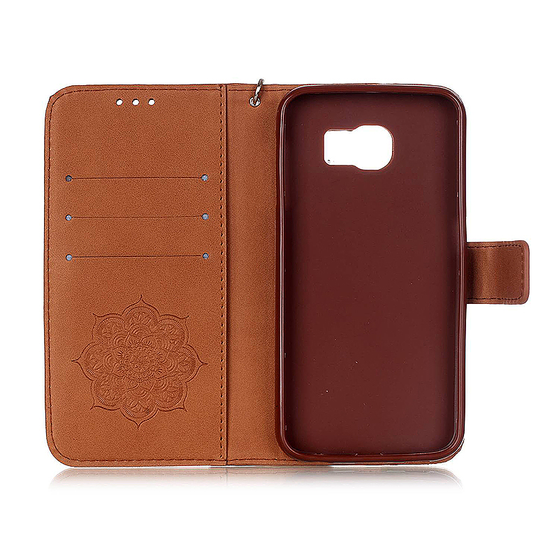 Dreamcatcher Embossed Stand Flip Wallet Credit Card Cover Case for Samsung Galaxy S6 - Brown