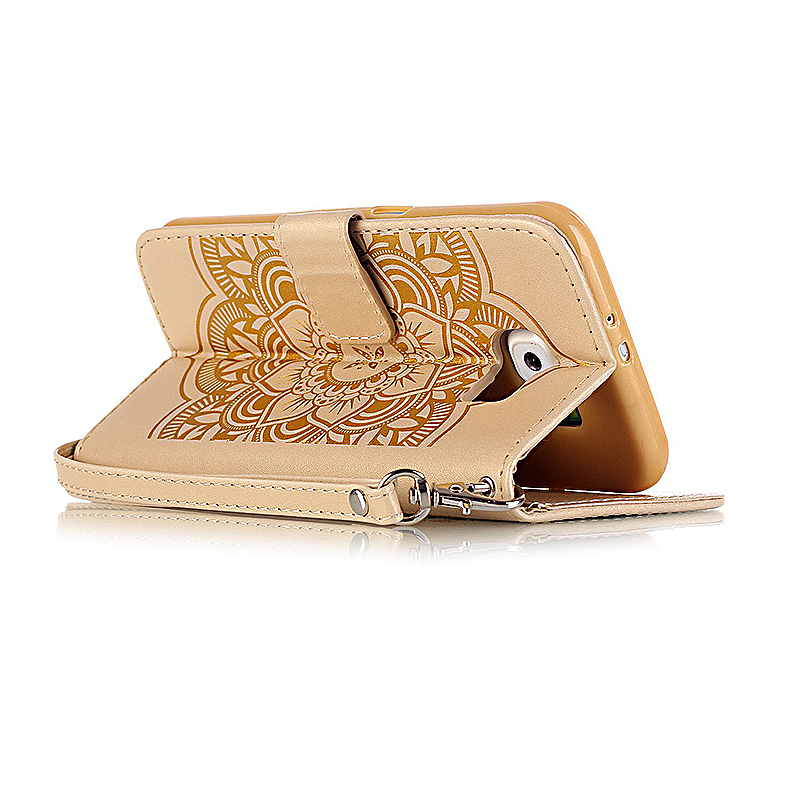 Dreamcatcher Embossed Stand Flip Wallet Credit Card Cover Case for Samsung Galaxy S6 - Golden