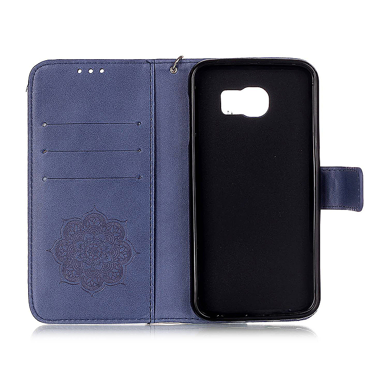 Dreamcatcher Embossed Stand Flip Wallet Credit Card Cover Case for Samsung Galaxy S6 - Blue