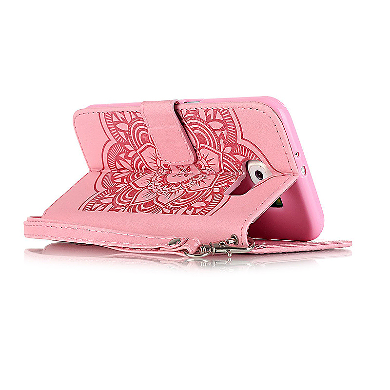 Dreamcatcher Embossed Stand Flip Wallet Credit Card Cover Case for Samsung Galaxy S6 - Pink