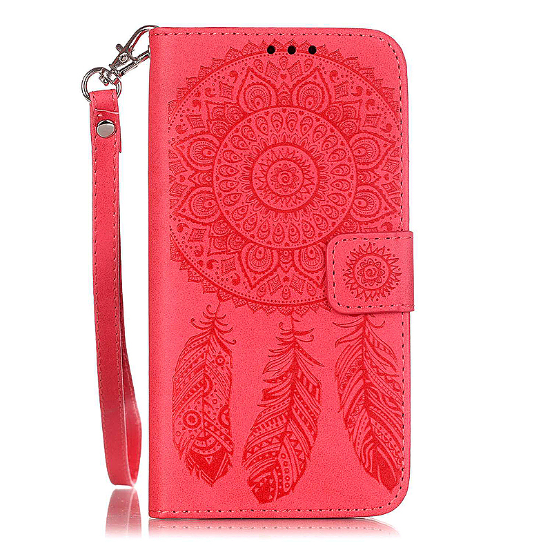 Dreamcatcher Embossed Stand Flip Wallet Credit Card Cover Case for Samsung Galaxy S6 - Red