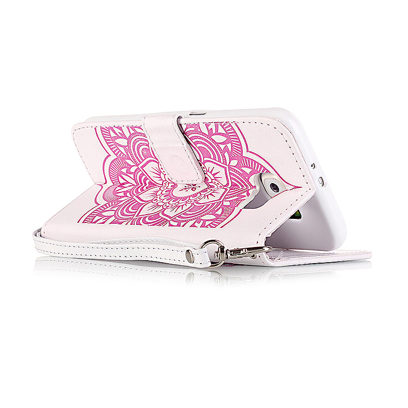 Dreamcatcher Embossed Stand Flip Wallet Credit Card Cover Case for Samsung Galaxy S6 - White Pink