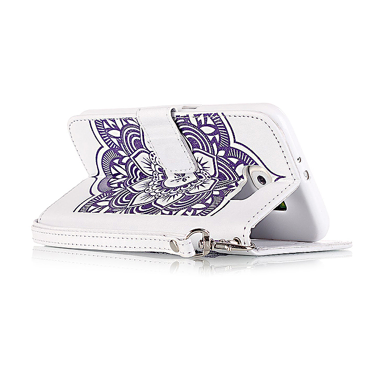 Dreamcatcher Embossed Stand Flip Wallet Credit Card Cover Case for Samsung Galaxy S6 - White Purple