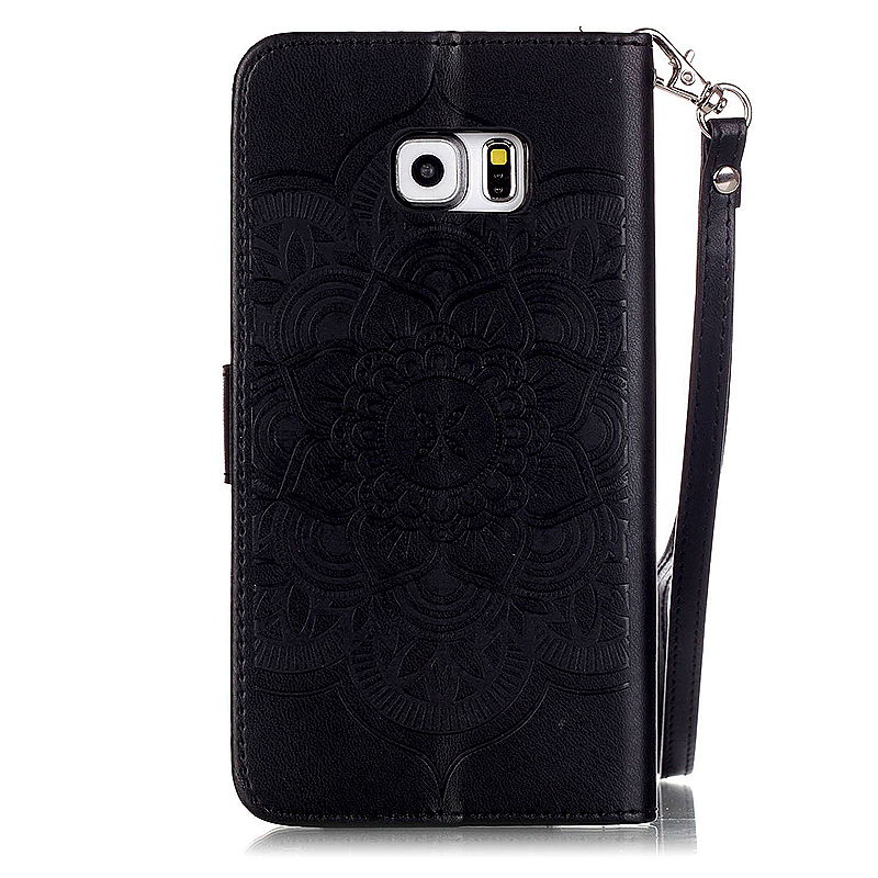 Dreamcatcher Embossed Stand Flip Wallet Credit Card Cover Case for Samsung Galaxy S6 Edge - Black