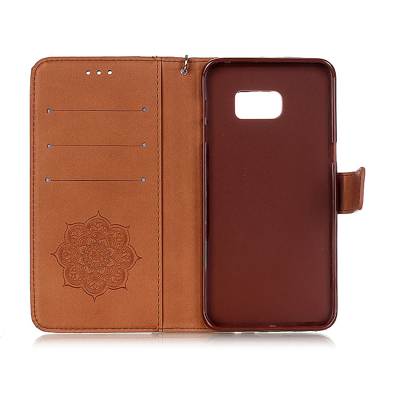 Dreamcatcher Embossed Stand Flip Wallet Credit Card Cover Case for Samsung Galaxy S6 Edge - Brown