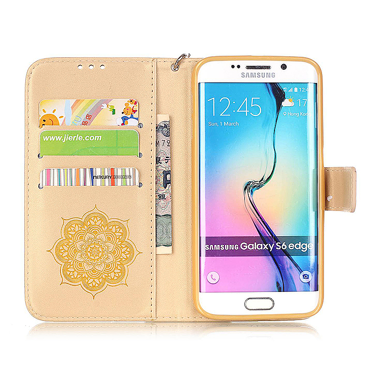 Dreamcatcher Embossed Stand Flip Wallet Credit Card Cover Case for Samsung Galaxy S6 Edge - Golden