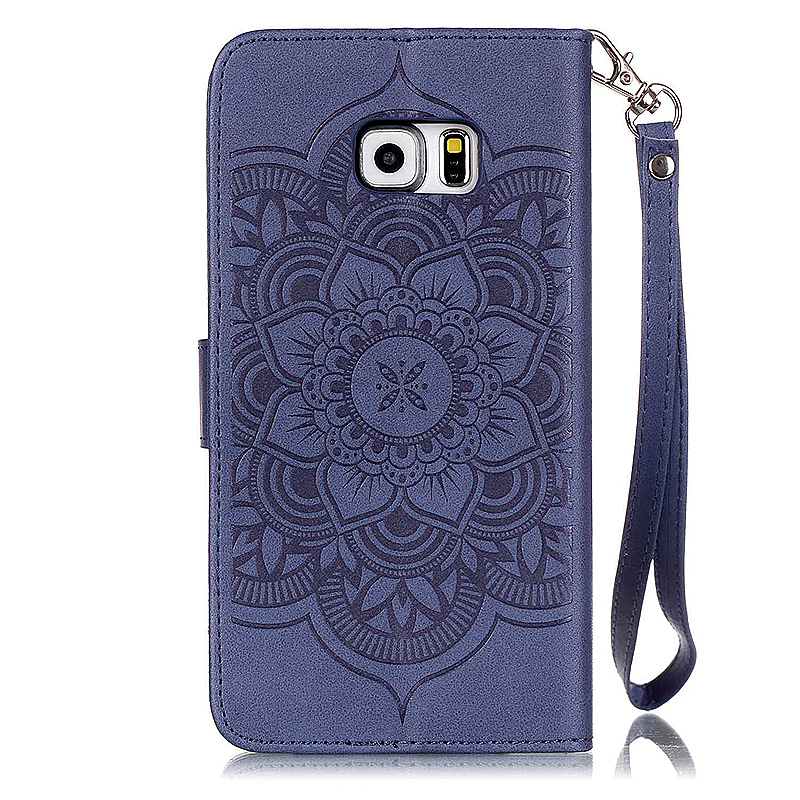 Dreamcatcher Embossed Stand Flip Wallet Credit Card Cover Case for Samsung Galaxy S6 Edge - Blue