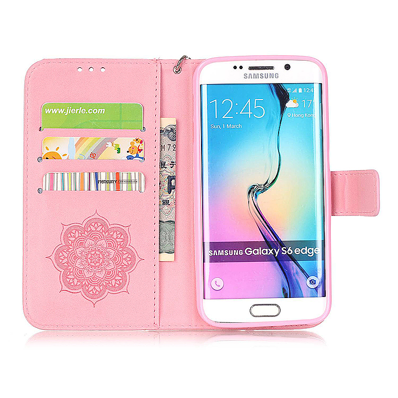 Dreamcatcher Embossed Stand Flip Wallet Credit Card Cover Case for Samsung Galaxy S6 Edge - Pink