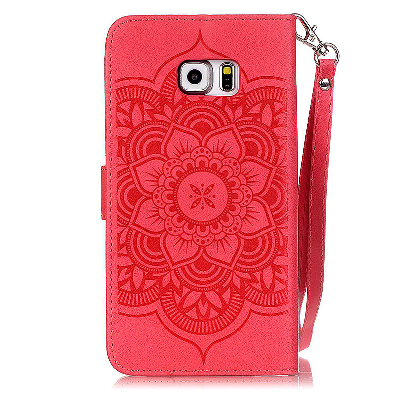 Dreamcatcher Embossed Stand Flip Wallet Credit Card Cover Case for Samsung Galaxy S6 Edge - Red