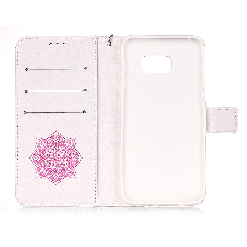 Dreamcatcher Embossed Stand Flip Wallet Credit Card Cover Case for Samsung Galaxy S6 Edge - White Pink
