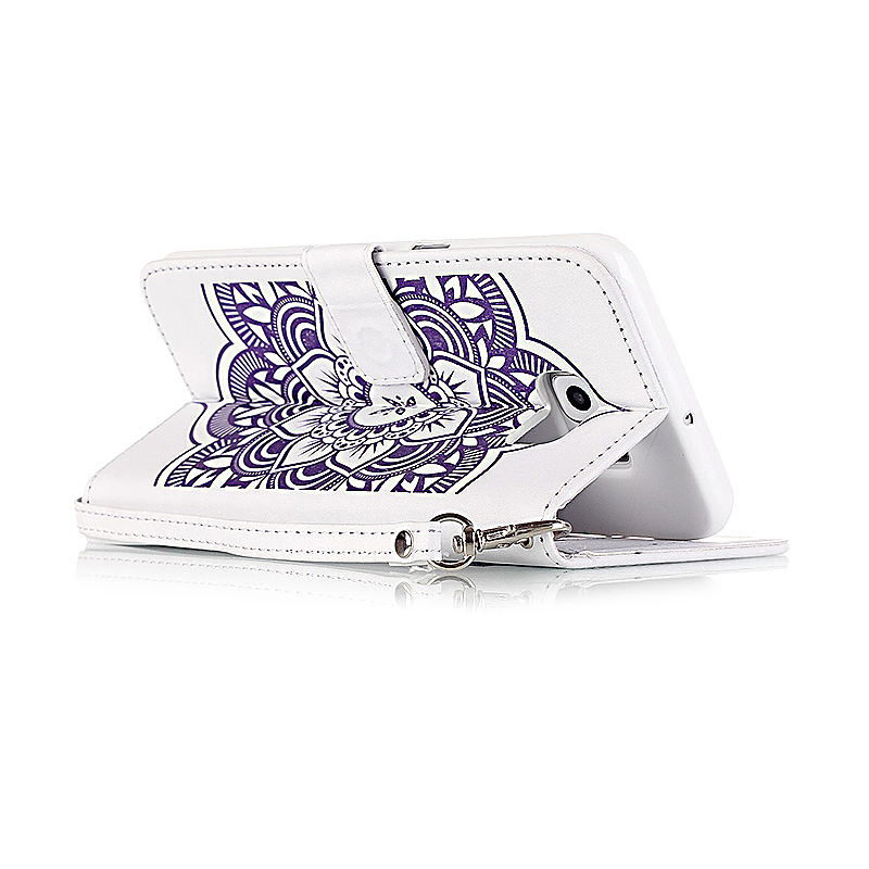 Dreamcatcher Embossed Stand Flip Wallet Credit Card Cover Case for Samsung Galaxy S6 Edge - White Purple