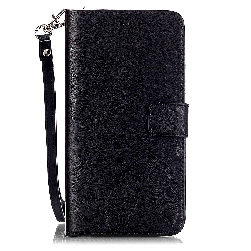 Dreamcatcher Embossed Stand Flip Wallet Credit Card Cover Case for Samsung Galaxy S6 Edge Plus - Black
