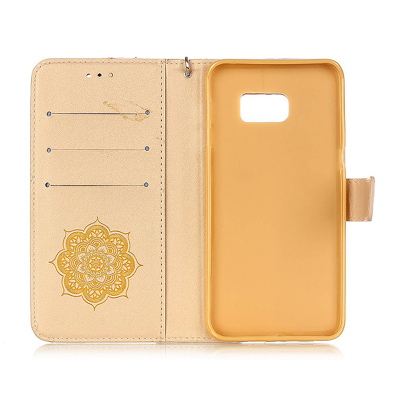 Dreamcatcher Embossed Stand Flip Wallet Credit Card Cover Case for Samsung Galaxy S6 Edge Plus - Golden