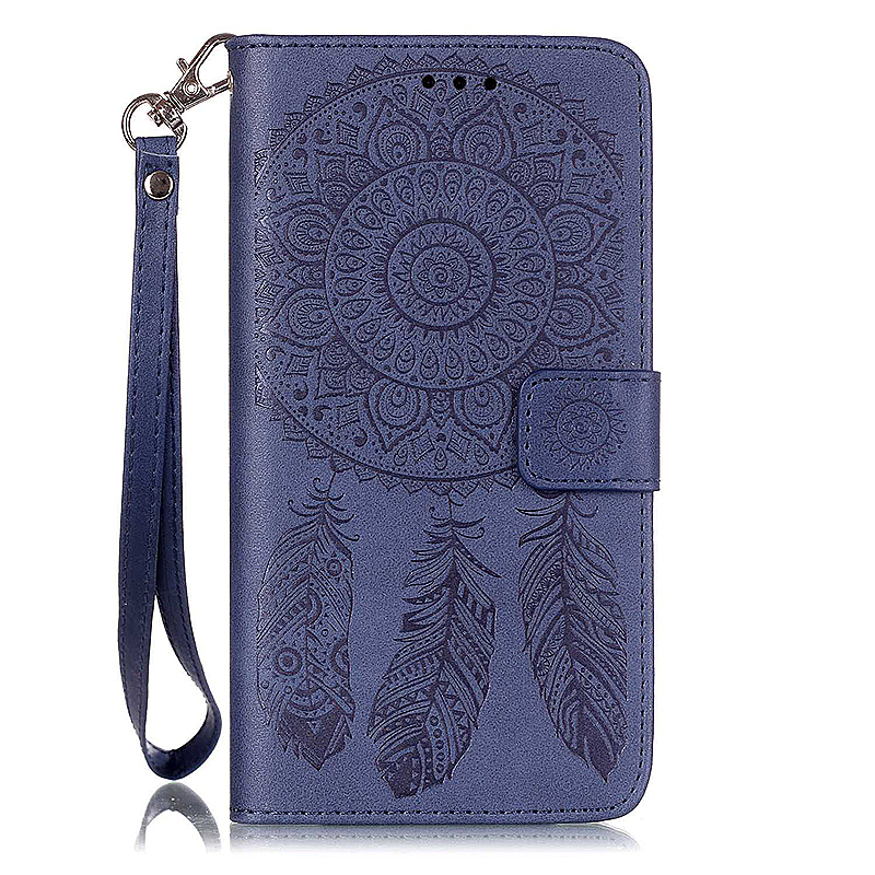 Dreamcatcher Embossed Stand Flip Wallet Credit Card Cover Case for Samsung Galaxy S6 Edge Plus - Blue