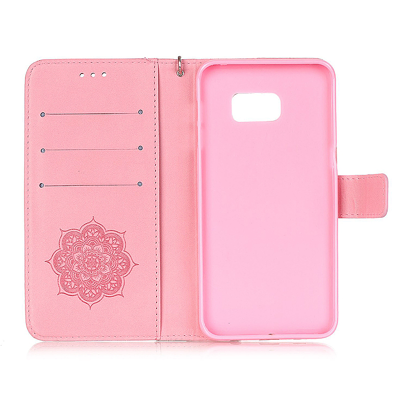 Dreamcatcher Embossed Stand Flip Wallet Credit Card Cover Case for Samsung Galaxy S6 Edge Plus - Pink