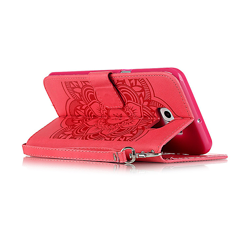 Dreamcatcher Embossed Stand Flip Wallet Credit Card Cover Case for Samsung Galaxy S6 Edge Plus - Red