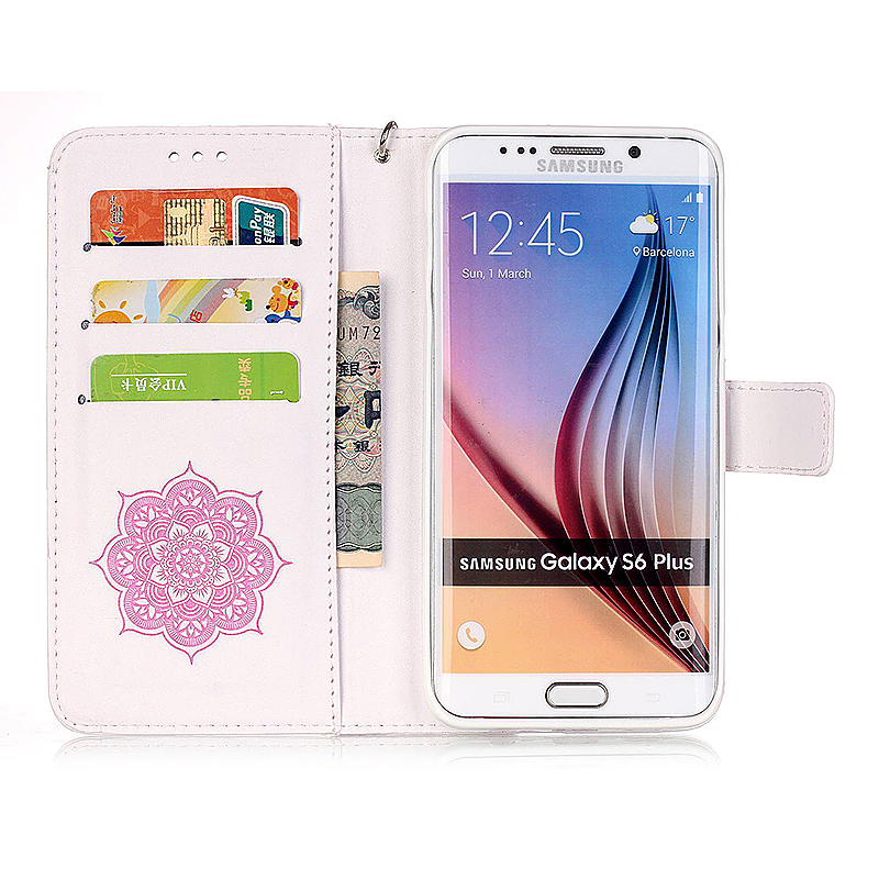 Dreamcatcher Embossed Stand Flip Wallet Credit Card Cover Case for Samsung Galaxy S6 Edge Plus - White Pink