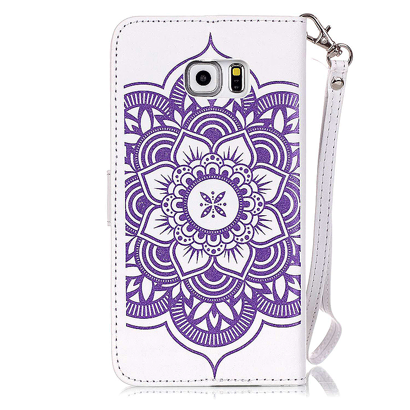 Dreamcatcher Embossed Stand Flip Wallet Credit Card Cover Case for Samsung Galaxy S6 Edge Plus - White Purple