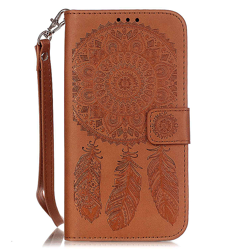 Dreamcatcher Embossed Stand Flip Wallet Credit Card Cover Case for Samsung Galaxy S7 Edge - Brown