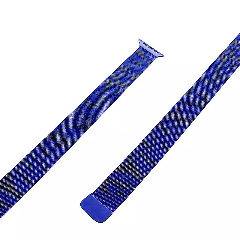 38mm Steel Military Army Magnetic Watchband Strap for Apple Watch iWatch - Camouflage Blue