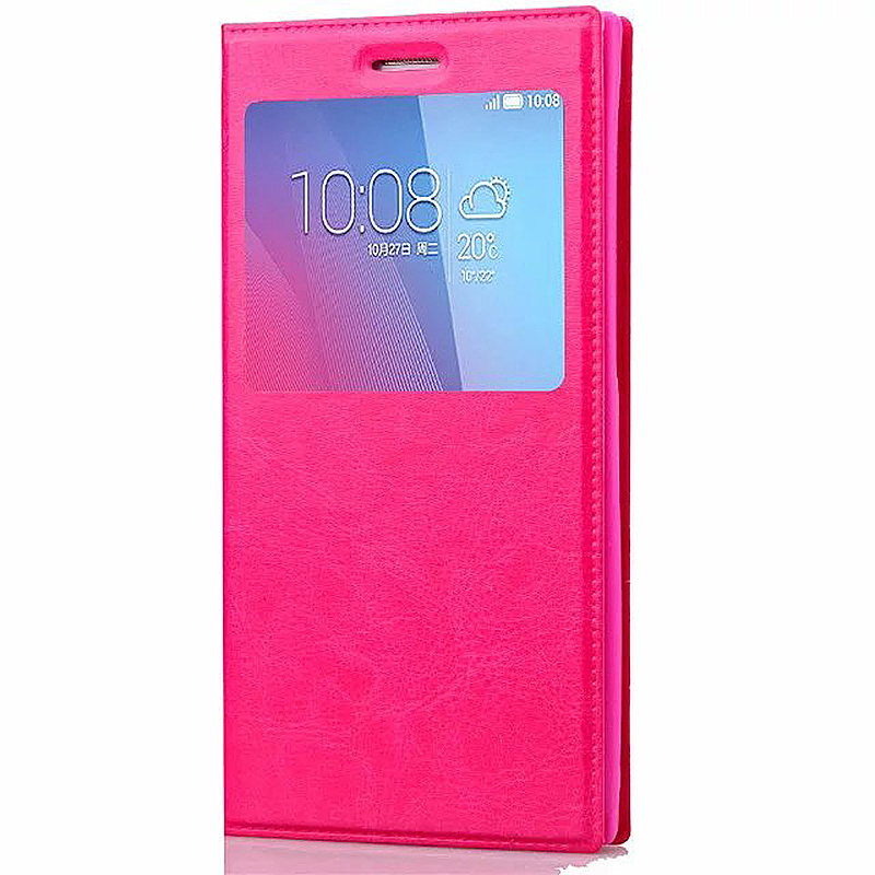5.1-5.5 Inch Universal Silicone Smart Touch View Window Flip Stand Phone Case Cover - Rose Red