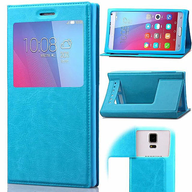 4.5-5.0 Inch Universal Silicone Smart Touch View Window Flip Stand Phone Case Cover - Blue