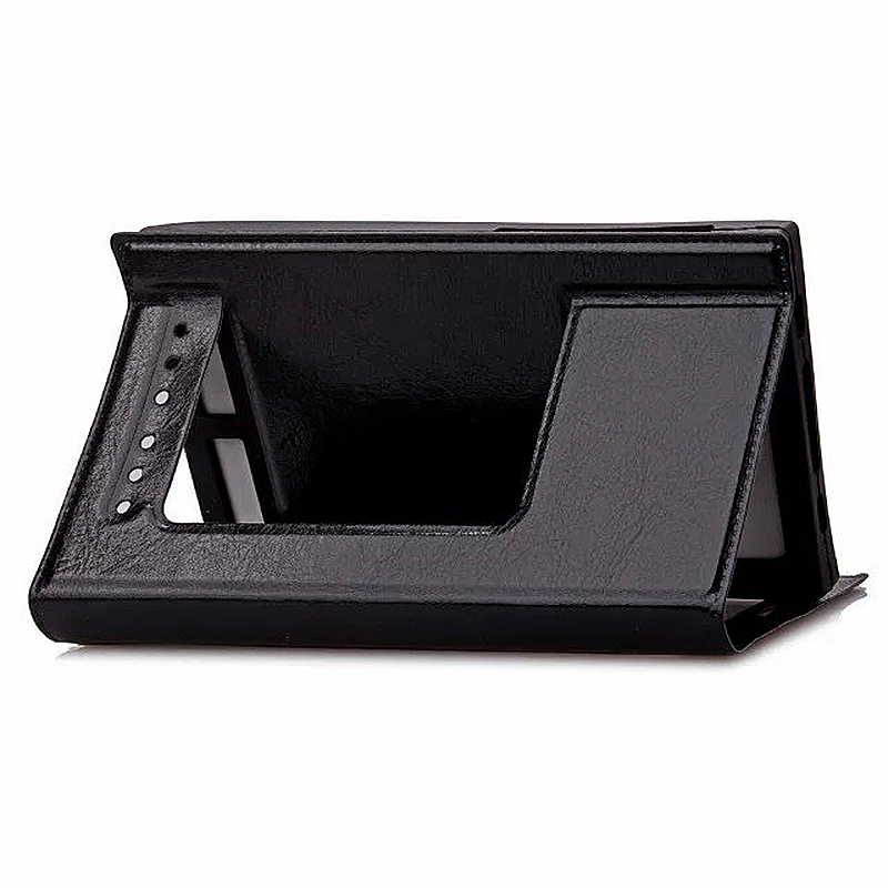 4.5-5.0 Inch Universal Silicone Smart Touch View Window Flip Stand Phone Case Cover - Black