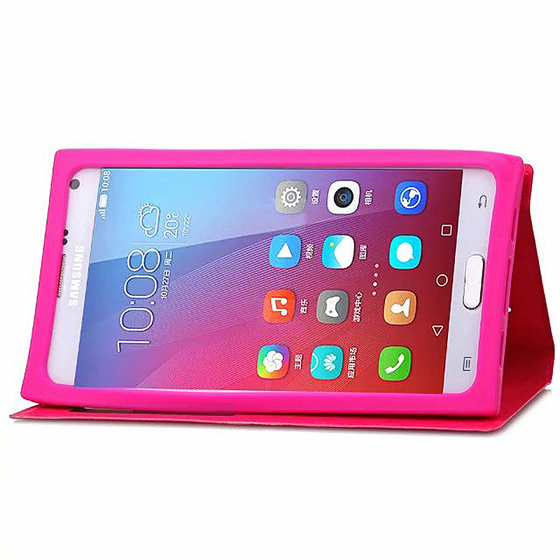 4.5-5.0 Inch Universal Silicone Smart Touch View Window Flip Stand Phone Case Cover - Rose Red